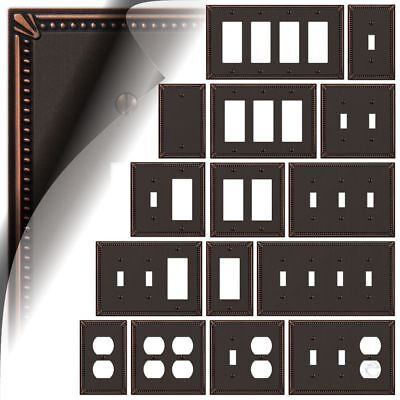 Imperial Bead Aged Bronze Switch Plate Cover Toggle Rocker Duplex Wallplate -