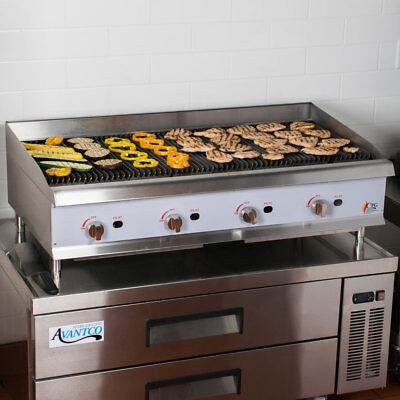 48 Gas Lava Rock Commercial Restaurant Kitchen Countertop Charbroiler