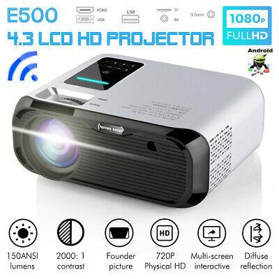 Mini Projector WiFi Bluetooth Andriod LED 1080P Home Theater Cinema HDMI VGA AV