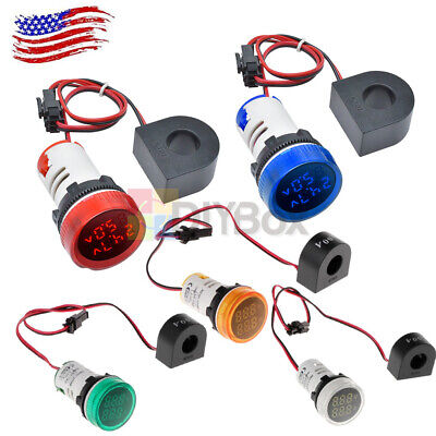 0-100a Round 22mm Digital Led Ac Panel Voltmeter 50-500v Voltage Display