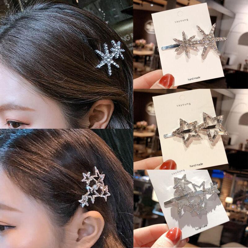 Crystal Rhinestone Pentagram Hollow Star Metal Hair Clip Bridal Barrette Hairpin