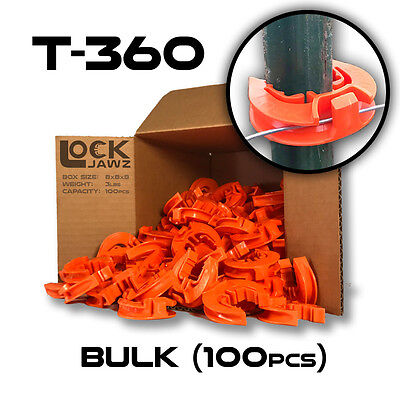 T-360 Electric Fence Insulators 100 Bulk Lockjawz Orange Straight Corners