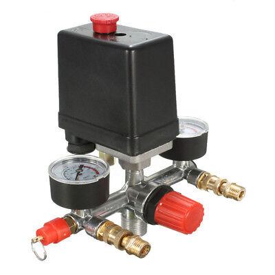 Air Compressor Pressure Control Switch Valve Manifold Regulator W Gauges Relief