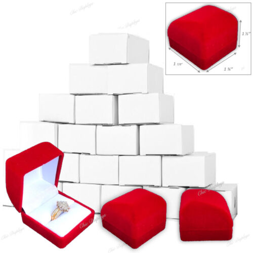 12pc Red Ring Gift Boxes Red Velvet Ring Boxes Jewelry Red Boxes Cufflinks Box