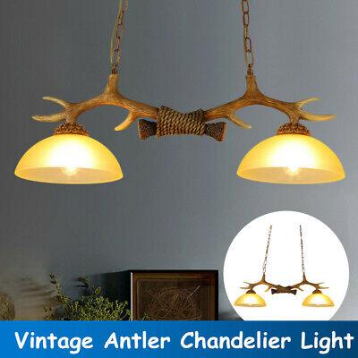 2-Light Natural Antler Island Light Hanging Lighting Glass Fixture Rustic -