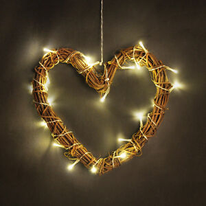 Brown Wicker Rattan Heart Battery Led Fairy Lights Wall