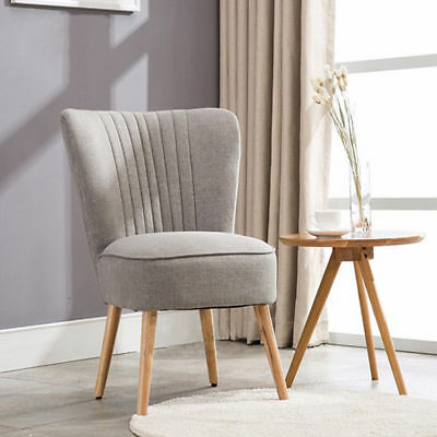 Panana Grey Retro Accent Chair With Natural Legs Fluted Back Balcony Furniture