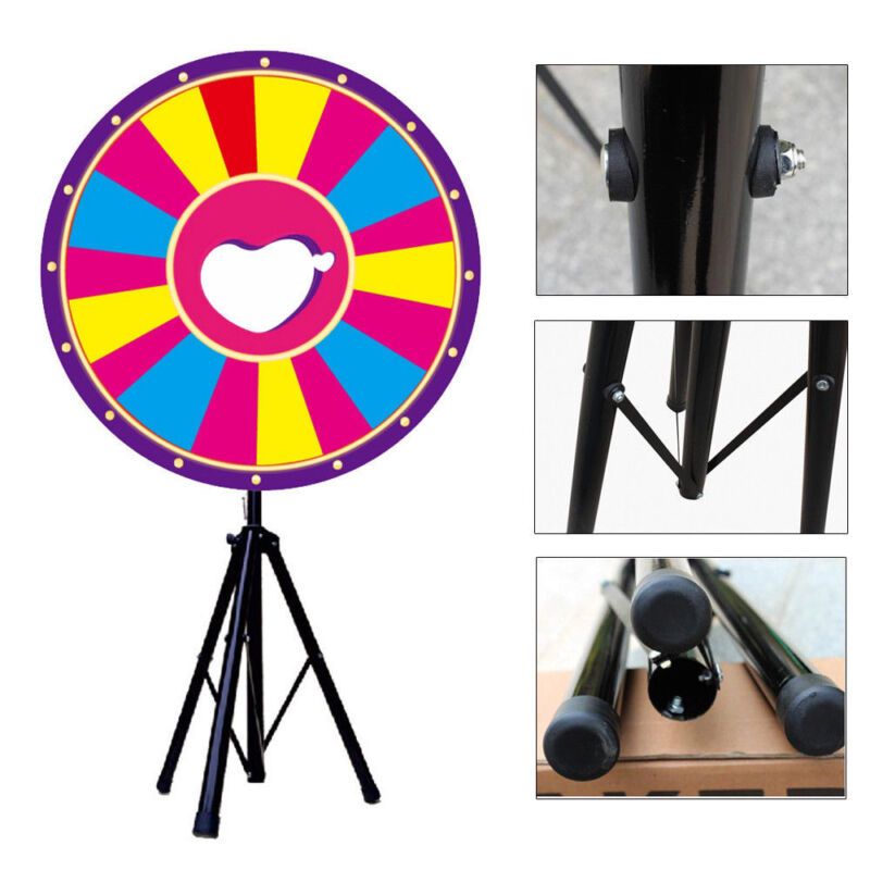 """24"""" Prize Wheel Tripod Spinning Folding Stand Dry Erase Fortune Game Carnival US"""