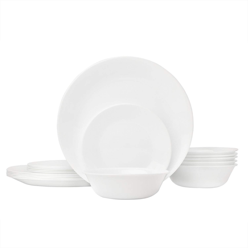 Corelle Livingware 18-Piece Glass Dinnerware Set, Winter Fro