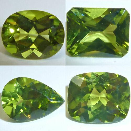 Natural Peridot Oval, Emerald, Pear, Cushion Faceted Loose Gems Fine Cut AA+