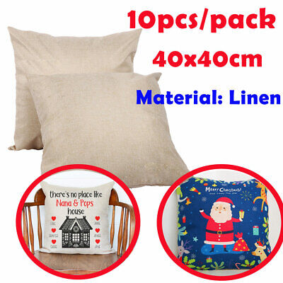 10pcs Linen Sublimation Blank Pillow Case Fashion Cushion Cover For Heat Press