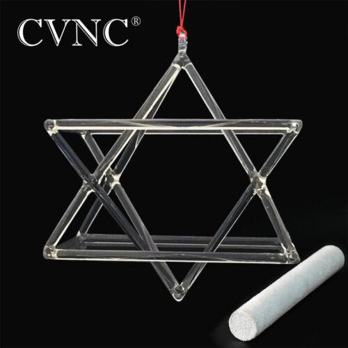 CVNC 6 Inch Merkaba Hexagram Quartz Crystal Singing Pyramid Bowl Suede Mallets