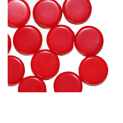 Red Flat Disc Czech Pressed Glass Beads 13mm (pack of 12)