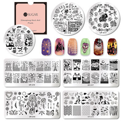 UR SUGAR Halloween Nail Stamping Plates Plaque Ongle Pochoir Template Manucure