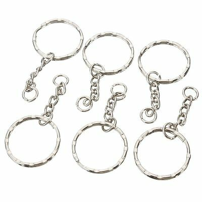 Lot 200x DIY 25mm Polished Silver Keychain Split Ring Short Chain Key Rings i0