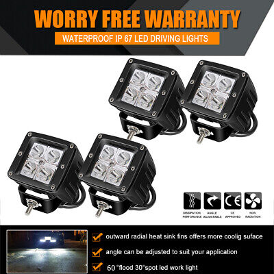 4X 3INCH LED Work Light Square Cube Pods Spot Bumper Reverse OffRoad Boat (Clear Spot Locations)