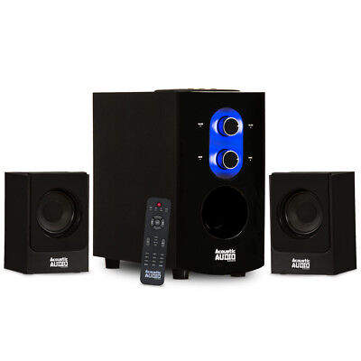 Acoustic Audio 2.1 Bluetooth Home 3 Piece Speaker System for Multimedia Computer