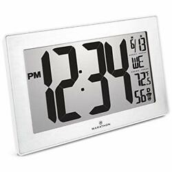 Marathon CL030068WH-SS Wall Clocks Slim Panoramic Atomic With Table Stand Color-