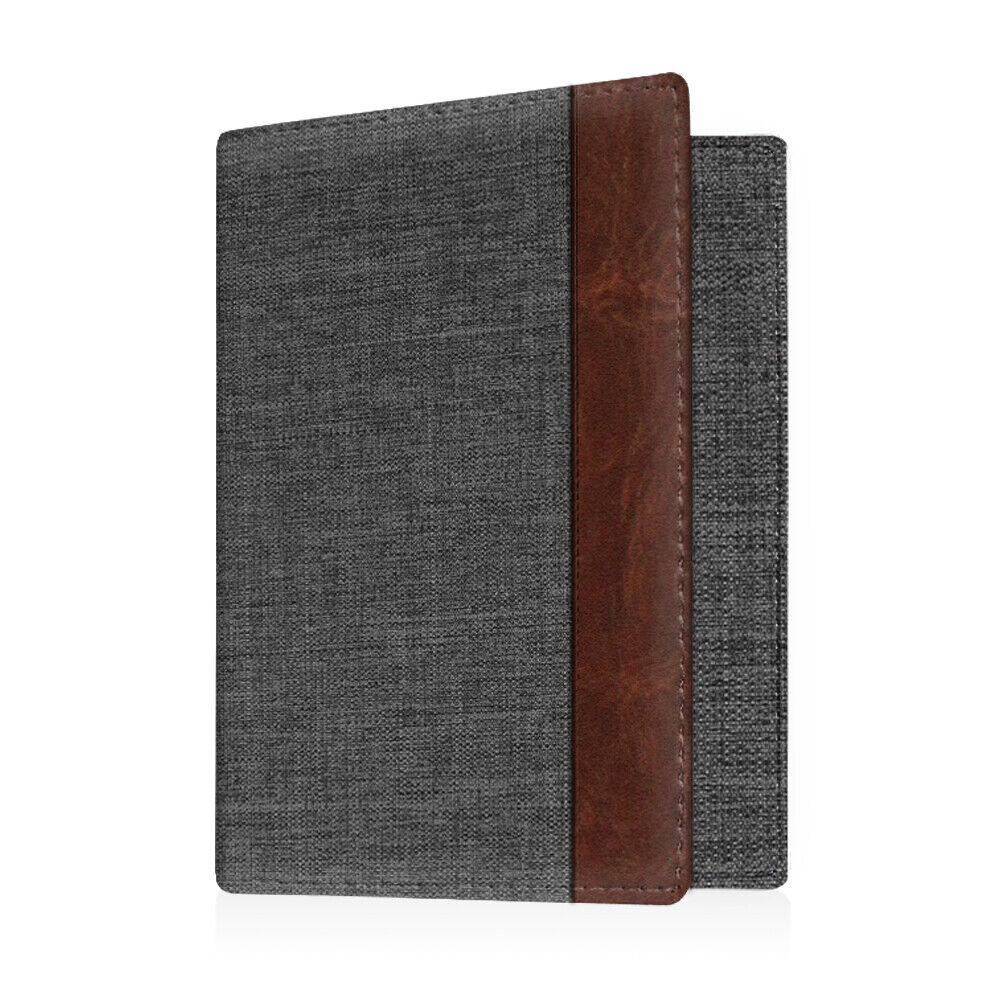 Travel Passport Holder Wallet Holder RFID Blocking Vegan Leather Card Case Cover Denim Charcoal/Brown