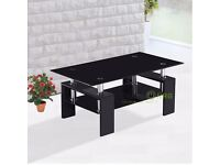 Designer Side Table Black Tempered Glass With Chrome Legs Coffee table Modern - Collection Only