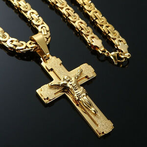 Mens Stainless Steel Cross Necklace Chain 18K Gold Filled Jesus Pendant 24