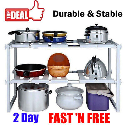 2 Tier Under Sink Kitchen Storage Holders Rack Expandable Shelf Organizer Rack