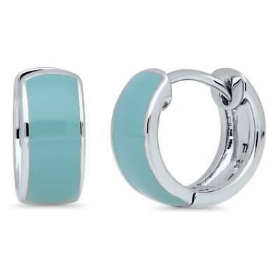 0.5' Hoop Huggie Earrings - BERRICLE Sterling Silver Enamel Small Fashion Hoop Huggie Earrings 0.5