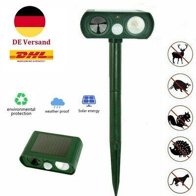 Ultraschall Solar LED Tiervertreiber Abwehr Schreck Vogelabwehr Gartenschutz DHL