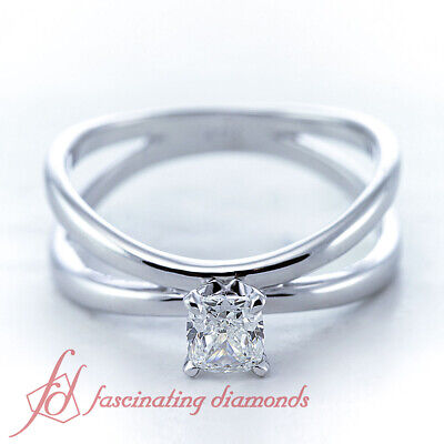 Butterfly Twist Solitaire Engagement Ring 1/2 Carat Cushion Cut Diamond VVS2 GIA 1