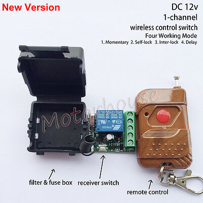 DC 12V Wireless RF Remote Control Relay Momentary Switch On/off Module + Case
