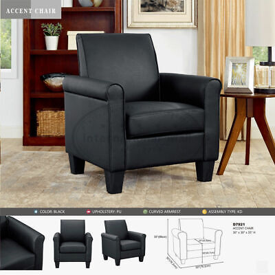Black Leather Accent Chair - Black Modern Leather Accent Chair Living Room Arm Chairs  Single Sofa Chair USA