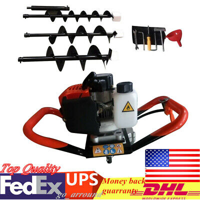 52cc Powered Engine Post Hole Digger 2.3hp Gas Powered Earth Auger 4 6 8 Bit