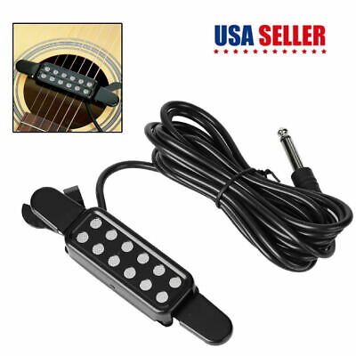 12-hole Acoustic Guitar Sound Hole Pickup Magnetic Transducer W/Connecting Cable