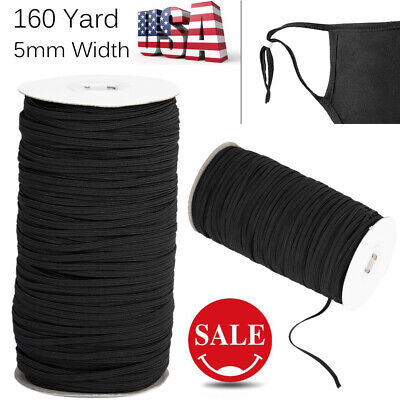160Yards BLACK Braided Strength Cord Band Elastic Rope Stretch Knit 5mm Wide USA