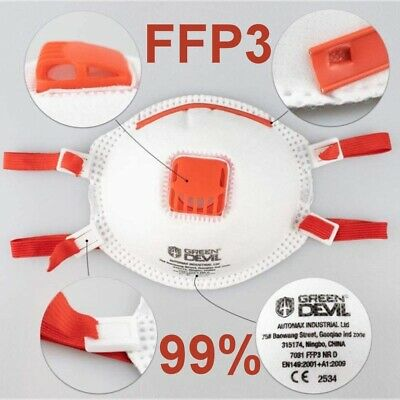 5 Stück FFP3 Maske Atemschutzmaske Mundschutz Staubmaske Atemventil 99%Filter !!