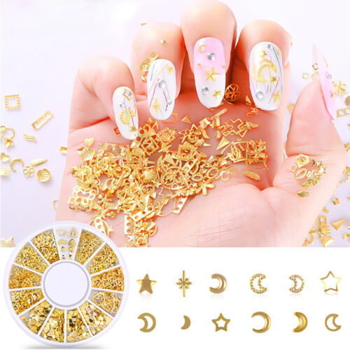 Ocean Nail Art Studs Gold Charms Summer Sea Metal Alloy Rivets Shell Starfish