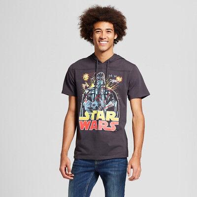 Men's Star Wars Shirt - Darth Vader Short Sleeve Hooded Graphic T-Shirt - S M L (Darth Vader T Shirt)