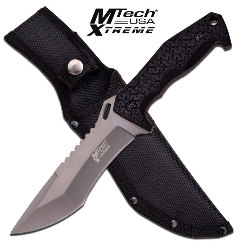 MTech XTreme Fixed Blade Knife Gray Black Rubber Texture Handle Sheath MX-8115