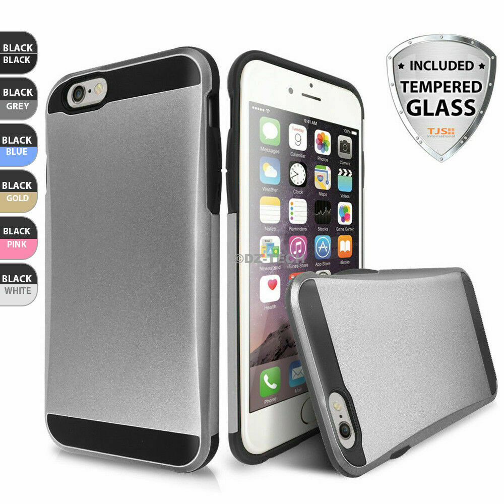 for-iphone-6-6s-phone-case-shockproof-credit-card-holder-cover-tempered-glass