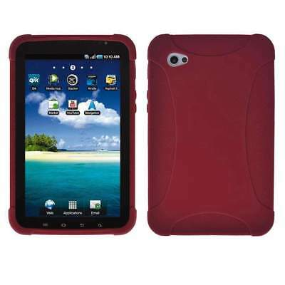 AMZER Silicone Skin Jelly Case Fit For Samsung GALAXY Tab GT-P1000 - Maroon Red for sale  Shipping to India