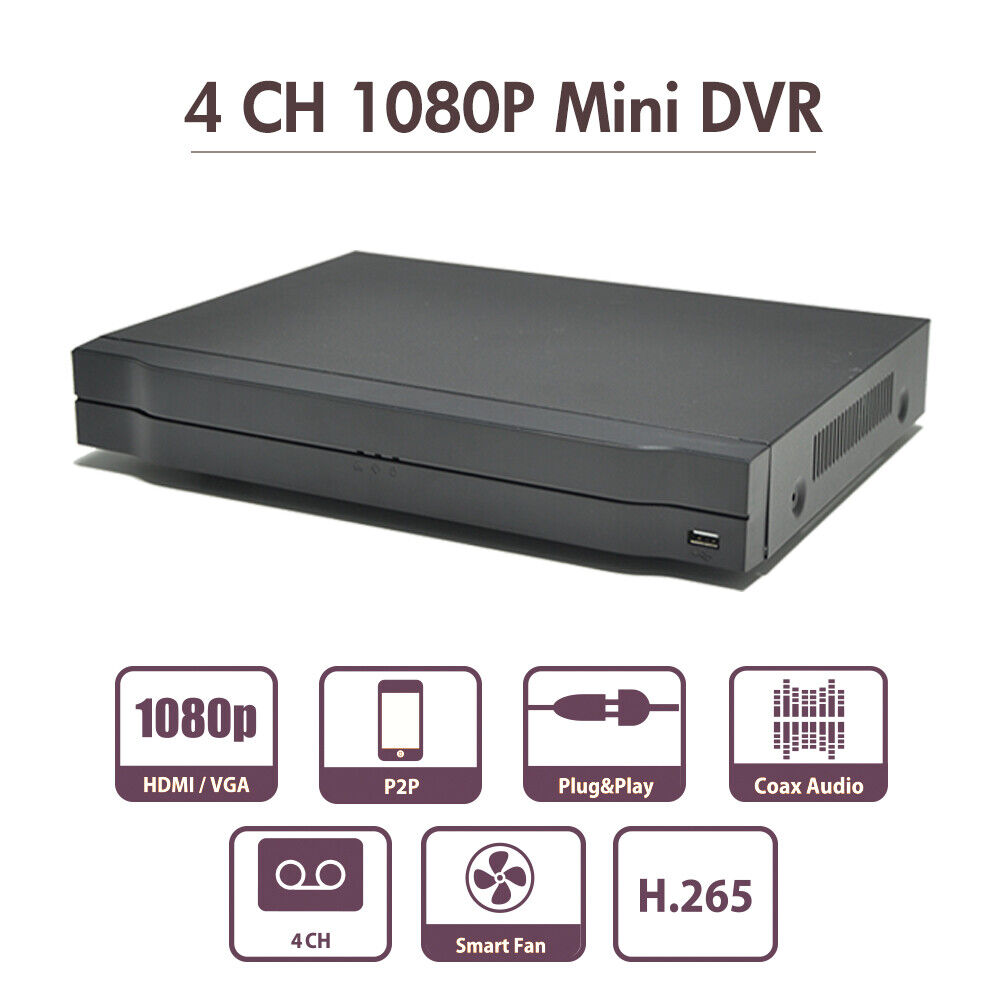 4 Channel DVR Video Recorder 4K 1080P Onvif P2P for Security