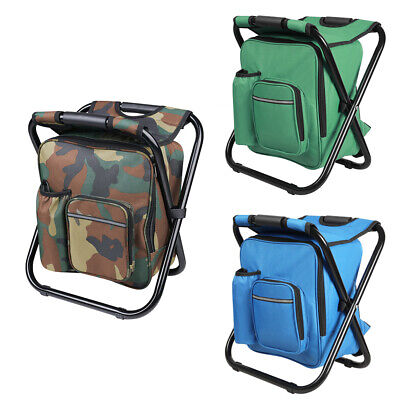 Foldable Multi-Function Fishing Backpack Beach Chair Stool w/ Cooler Bag - Backpack Fishing Chair
