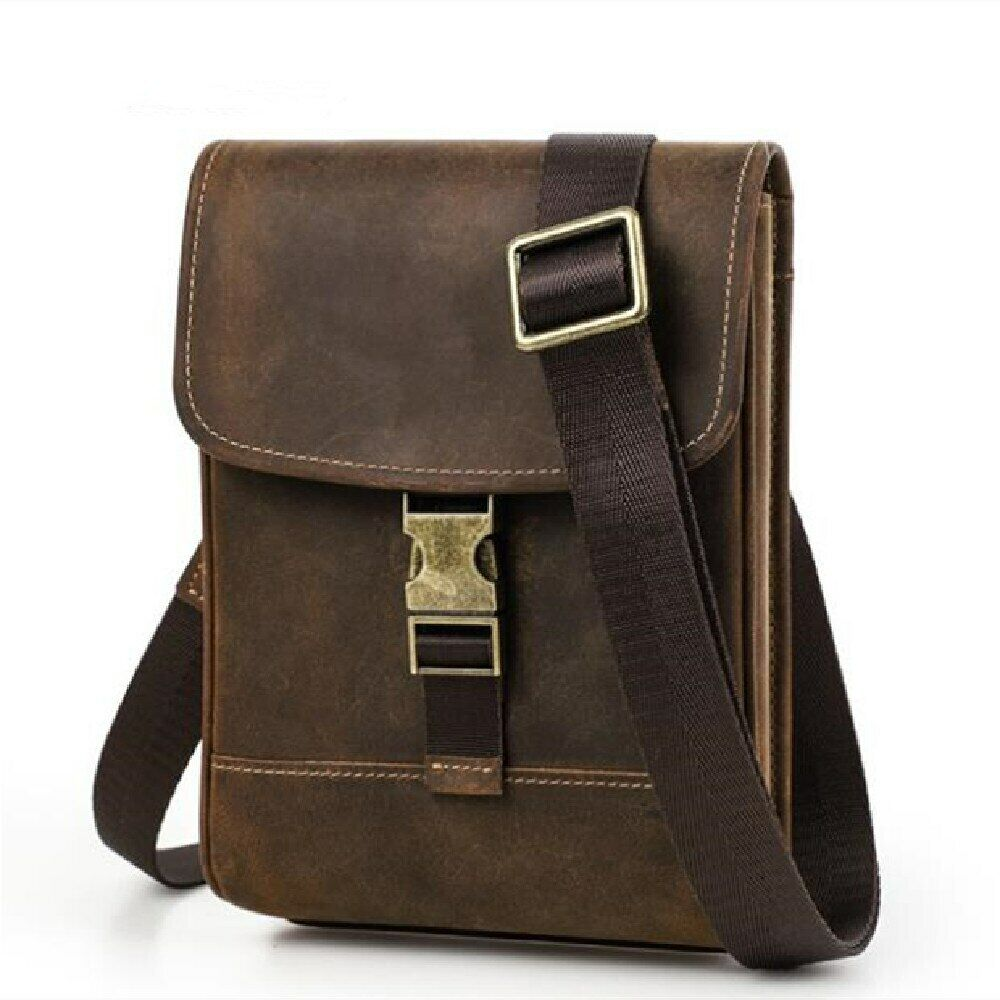 Men's mobile phone bag 2021 new cross-body bag retro leather mobile phone bag Clothing, Shoes & Accessories
