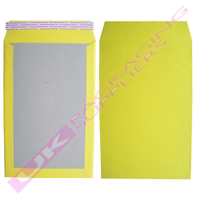 5 x LARGE YELLOW A4 C4 HARD BOARD BACKED SELF SEAL POSTAL ENVELOPES 229x324mm