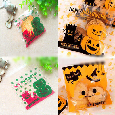 100x Halloween Self Adhesive Gift Bags Cellophane Cookie Candy Party Bags New (Halloween Gift Bags)