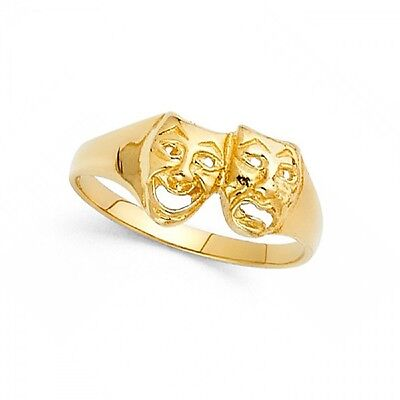Solid 14k Yellow Gold Drama Mask Ring Smile Now Cry Later Band Polished Style
