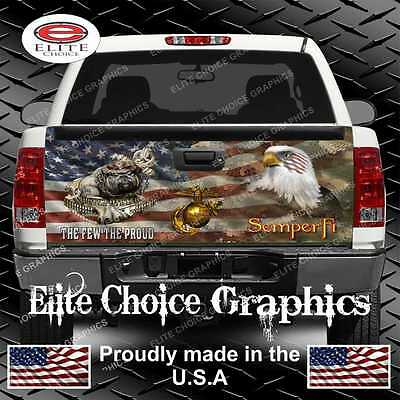 (Marine Dog Military Flag Camo Truck Tailgate Wrap Vinyl Graphic Decal)