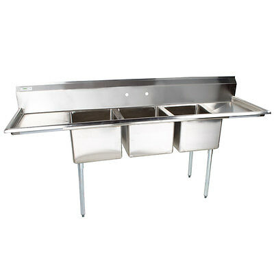 91 Nsf Stainless Steel 3 Compartment Commercial Pot Sink With 2 Drainboards