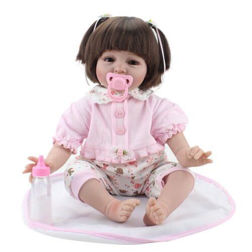 "22"" Reborn Dolls Vinyl Silicone Handmade Newborn Babies Baby Girl Doll+Clothes"