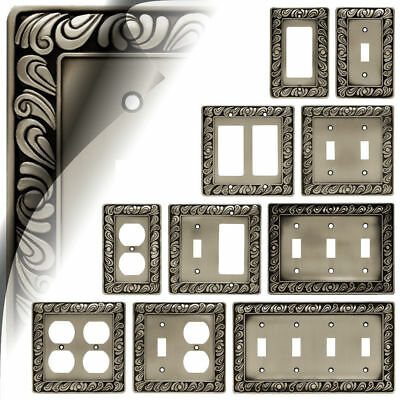 Paisley Satin Pewter Switch Plate Cover Outlet Toggle Rocker Decora Nickel GFI